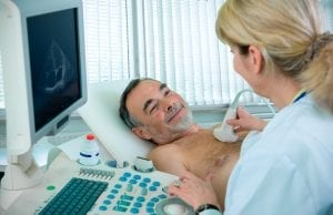 Doctor doing ultrasound on the patient